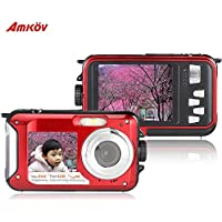 Amkov 24MP Underwater, Shockproof and Dustproof Digital Camera with Dual Full-color LCD Displays, 16X Digital Zoom, and Fully Waterproof for up to 10 Feet(Red)
