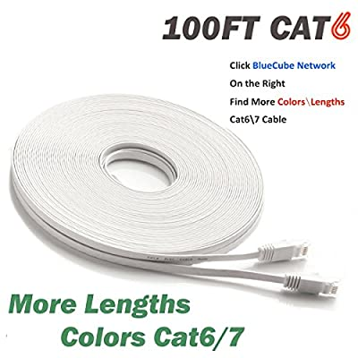 BlueCube Network - 100 Flat CAT6 Ethernet Cable, Ethernet Patch Cable, Internet Cable, Network Cable with Snagless RJ45 Connectors - 100 Feet White