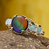 925 Sterling Silver Platinum Plated Round Ammolite Multi Gemstone Ring