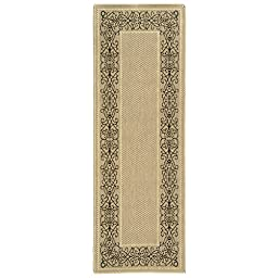 Safavieh Courtyard Collection CY1588-3901 Sand and Black Indoor/ Outdoor Runner (2\'3\