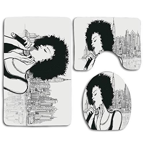 Afro American Jazz Music Girl Performing in Front York Manhattan Illustration Black Grey Bathroom Rug Mats Set 3 Piece Bath Mat Contour Mat and Lid Cover Bathroom Doormats Decor Non Slip