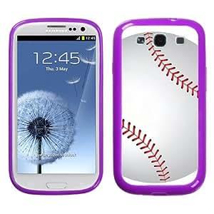 One Tough Shield ? Hybrid Flexible/Rigid Phone Case (Purple Bezel) for Samsung Galaxy S3 S-III - (Baseball)
