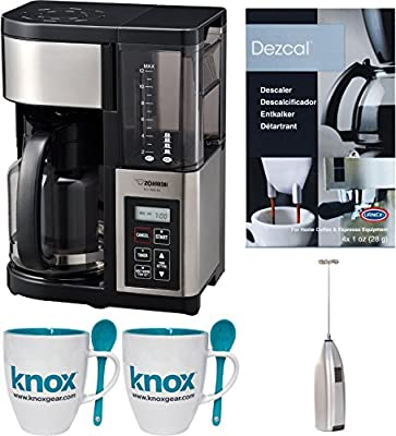Zojirushi Fresh Brew Plus 12-Cup Coffee Maker w/ Knox Milk Frother & Mugs Bundle