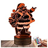 Novelty Lamp, Night Light 3D LED Lamp Optical Illusion Santa Claus, 16 Color Remote Control Changes, with USB Charging Connector, Children's Gift Toys,Ambient Light
