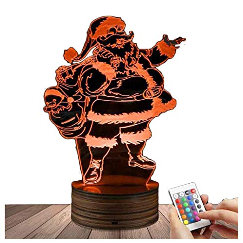 Novelty Lamp, Night Light 3D LED Lamp Optical Illusion Santa Claus, 16 Color Remote Control Changes, with USB Charging Connector, Children's Gift Toys,Ambient Light by LIX-XYD (Image #9)