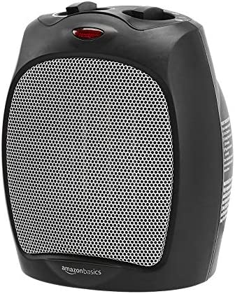 Amazon Basics 1500W Ceramic Personal Heater with Adjustable Thermostat, Black
