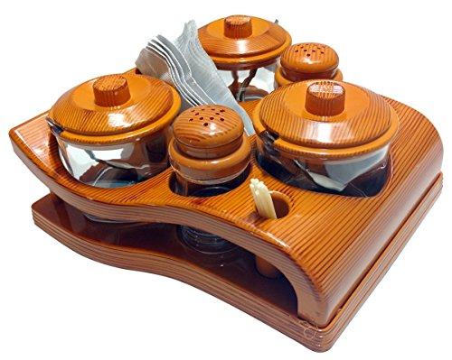Nabhya Complete Dining Table Set of Pickle Jars, Salt and Pepper Dispenser, Toothpick Holder and Spoon Holder(Wooden…