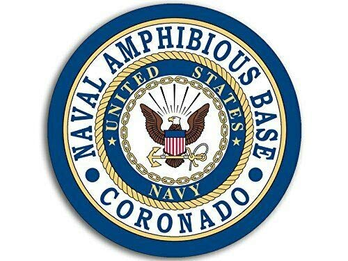 MAGNET 4x4 inch Round Naval Amphibious Base Coronado Seal Sticker (Logo Navy ca) Magnetic vinyl bumper sticker sticks to any metal fridge, car, signs