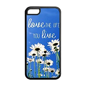 Pink Hipster Love the Life You Live Quote Apple Iphone 5C Case Cover TPU Wildflower Field