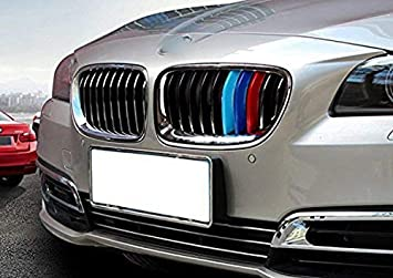 1 set M-Colored Kidney Grille Insert Trim TRI Color M Sport Strips Fit BMW 3 F30 4 Series F32 435i Standard Chrome Grill 11 Beam bars