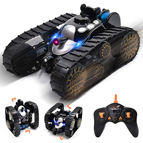 Ulvench Rechargeable RC Tank Car Gifts Toy with Music LED