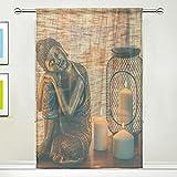 TSWEETHOME Window Treatments Sheer Curtains Draperies with Sleeping Buddha Statue for Living room, Bedroom, Nursery Sliding Glass Door Rod Pocket Process