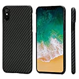 PITAKA Slim Case Compatible with iPhone X 5.8', MagCase Aramid Fiber [Real Body Armor Material] Phone Case,Minimalist Strongest Durable Snugly Fit Snap-on Case - Black/Grey(Twill)