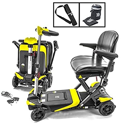 Transformer Automatic Foldable Lithium Powered Travel Scooter Yellow + Cane & Cup Holder