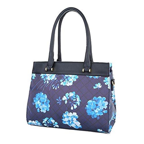 iTal-dEsiGn Damentasche Mittelgroße Schultertasche Handtasche Tragetasche Kunstleder TA-XD8538 Blau