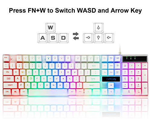 20732bc817b CHONCHOW Gaming Wired Backlit Keyboard and Mouse Combo Led Illuminated  Letter 19 Anti-Ghost Keys White Opptical Mice Compatible with iMac Laptop  Computer ...