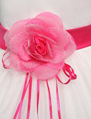 Pétales De Fleurs Nnjxd Fille Tutu Arc Robe De Mariée Pour Fille Enfant Rose Rouge