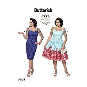 Butterick Patterns B6453 A5 Misses Princess Seam Dresses with Straight or Gathered Skirt by Gertie, Size 6-8-10-12-14 6453