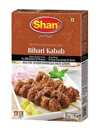 Shan Bihari Kabab Recipe and Seasoning Mix- 50g Spice Powder, No Preservative, Pakistani style masala for traditional BBQ(barbecue) flavor.