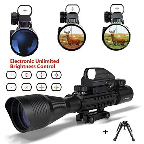 Aibay Rifle Scope Red and Green Dot Sight with Integrated Green Laser with Flip Up Lens Caps