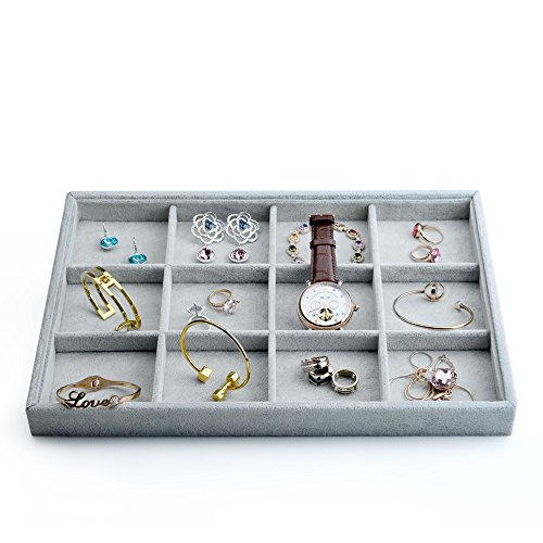Oirlv Velvet Stackable Jewelry Display Trays 12 Grids Rings Earrings Bracelet Organizer Storage Tray(13.8