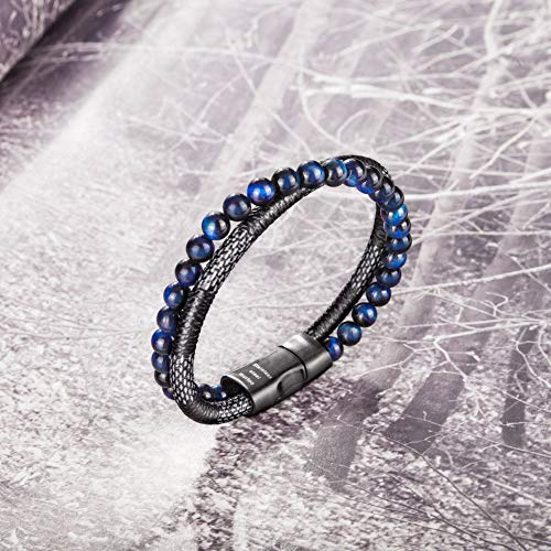 murtoo Mens Bead Leather Bracelet, Blue and Brown Bead and Leather Bracelet for Men (Blue-Black)