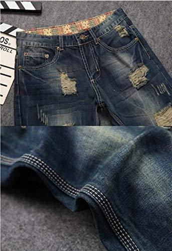 Da Pantaloni Sottili Strappati Blau Qk Casual Elasticizzati Vintage Jeans Ragazzo Uomo Dritti Non lannister Denim E1wqCS