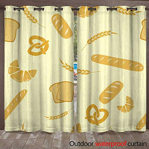 r Curtain for Patio Vector Seamless Background of Cereals W108 x L84 ()