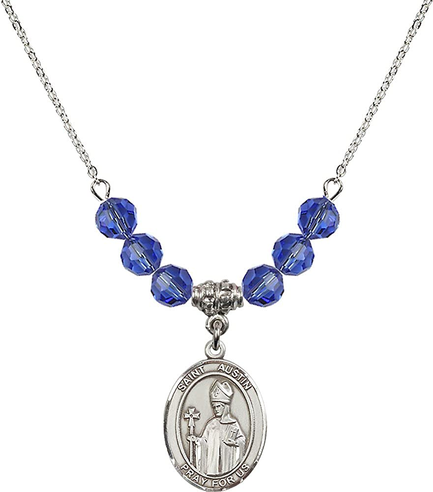 18-Inch Rhodium Plated Necklace with 6mm Sapphire Birthstone Beads and Sterling Silver Saint Austin Charm.