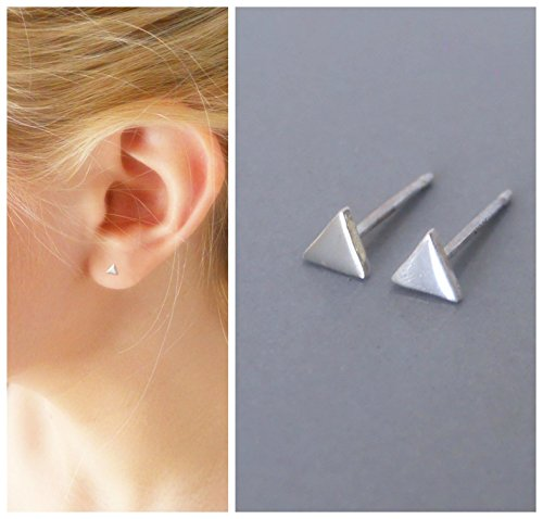 2 Handmade Tiny Triangle Studs - 925 Sterling Silver ()