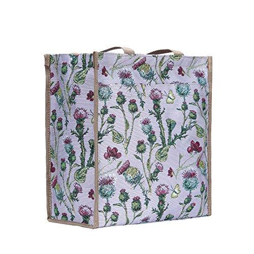 Signare Mode Femme Cabas Tapisserie Sac d'épaule floral Chardon
