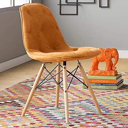 Deal Dhamaal Dining Chair/Side Chair for Living Room/Side Chair for Home/Living Room Chair with Cushion (Orange)
