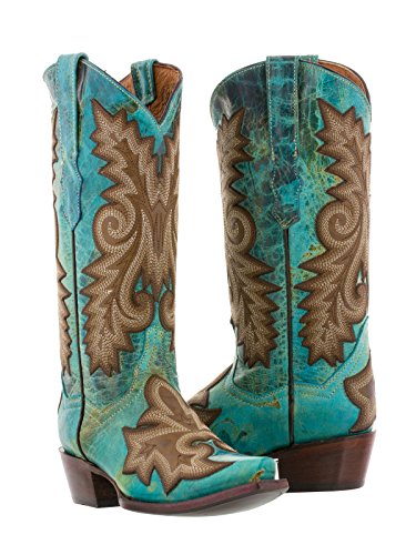 Cowboy Professional Women's Turquoise Ancona Western Leather Cowboy Boots Snip Toe 11 (Ancona Leather)