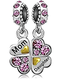 Mom Mother Heart Daughter Clover Birthstone Charms Jan-Dec Dangle Bead for Bracelets
