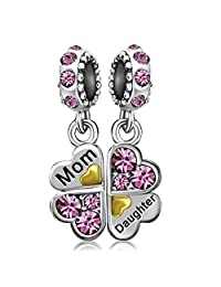 JMQJewelry Mom Mother Love Heart Daughter Clover Dangle Birthstone Charm Beads for Bracelets