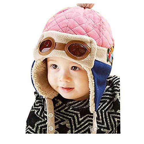 Crochet Earflap Pilot Hats Rabbit Ears Beanie Cap Winter Warm Knit Caps for Toddlers Baby Girls and Boys (Pink)]()