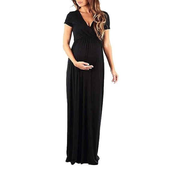 Gusspower Mujer Embarazada Larga,Vestido de Maternidad de Color Puro de Manga Corta Embarazada con