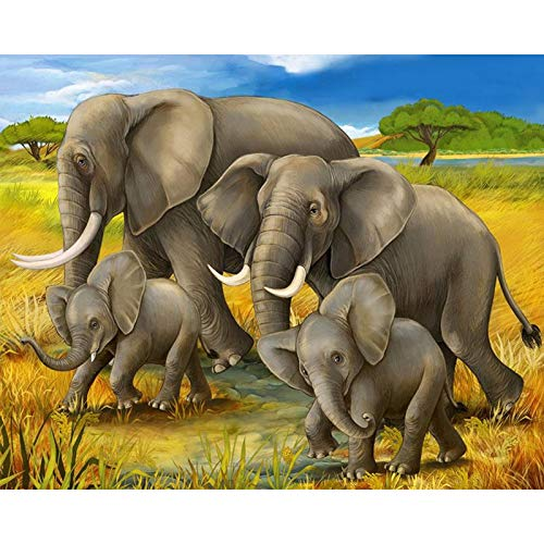 (Diy Adult Painting By Numbers For Adults Kits Landscape Paint By Numbers Countryside For Home Decor,Steppe Elephant Pattern, 16X20Inches)