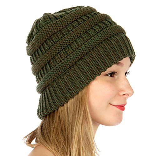 SERENITA C.C Unisex Warm Chunky Soft Marled Cable Knit Slouchy Beanie Hat - Felt Chunky