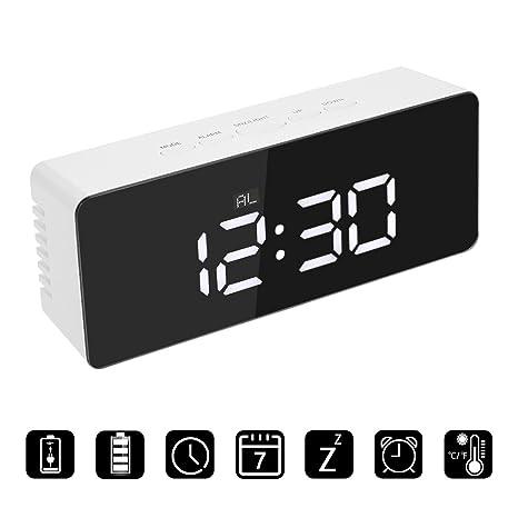 Reloj despertador LED, bloomma despertador multifunción digital a Espejo con función de repetición a 2