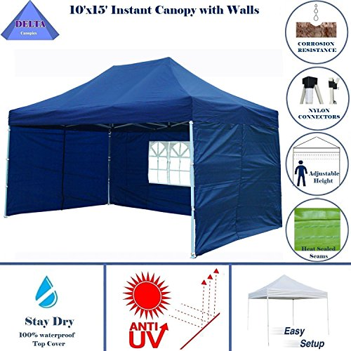 DELTA Canopies 10'x15' Ez Pop up Canopy Party Tent Instant Gazebos 100% Waterproof Top with 4 Removable Sides Navy Blue…
