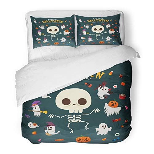 Emvency 3 Piece Duvet Cover Set Brushed Microfiber Fabric Breathable Broomstick Vintage Halloween with Witch Ghost Vampire Mummy Pirate Skeleton Bedding Set with 2 Pillow Covers Full/Queen Size