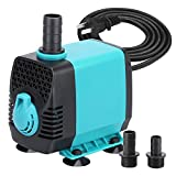 KEDSUM 439GPH Submersible Pump (2000L/H,40W), Ultra Quiet Water Pump with 6.8ft High Lift, Aquarium Pump with 4.6ft Power Cord, for Fish Tank, Pond, Aquarium, Statuary, Hydroponics