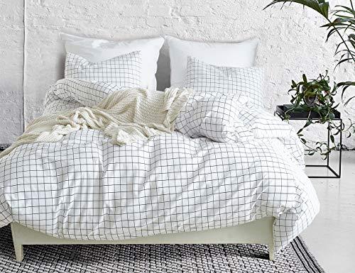 POMUED Lightweight Duvet Cover Set,Microfiber Full/Queen White&Black Grid Bedding Set,3PC Zipper Closure Corner Ties Comforter Cover