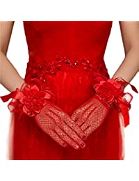 Women Lady Classy Floral Lace Net Yarn Gloves for Dinner Wedding Costume Party
