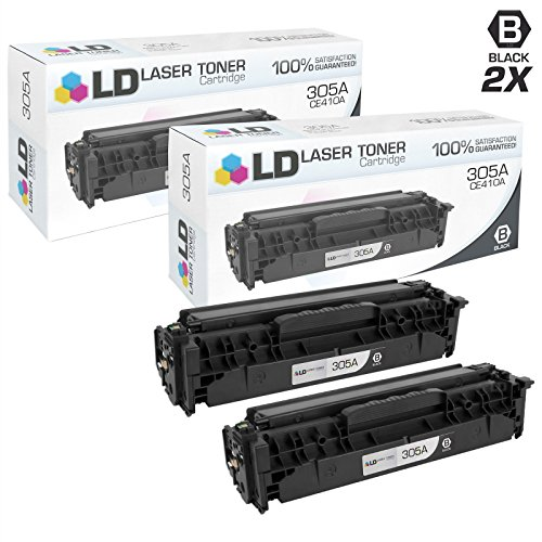 LD Compatible Replacements for HP 305A / CE410A Set of 2 Black Toner Cartridges for HP LaserJet Pro 300 Color MFP M375nw, 400 Color M451dn, M451dw, M451nw, M475dn, & M475dw