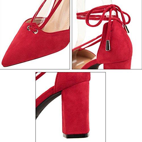 Pointed Del El Del Profesión Nightclub Heels Zapatos Talón Sexy Moda Lace Pink Para En Shoes La De OL Ups Grueso Formal Vestido Banquete Lady 5Px1q7