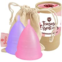2X Femme Essentials Menstrual Cups in Pink and Purple with Cotton Pouch for Easy Storage | Super Soft Menstrual Cup…
