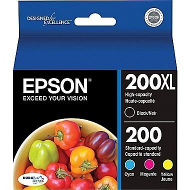 3 X Epson 200XL Black + 200 Cyan/Yellow/Magenta Combo Saver Pack (Black Ink Epson 200xl)