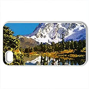 Snowy mountain peak - Case Cover for iPhone 4 and 4s (Mountains Series, Watercolor style, White)